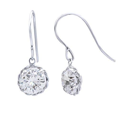 Moissanite Solid Earrings (10k Solid White Gold Round Cut Genuine Moissanite Prong set Earrings (2.00)