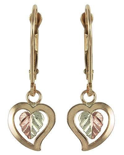 Heart Drop Earrings, 10k Yellow Gold, 12k Green and Rose Gold Black Hills Gold Motif by The Men's Jewelry Store (for HER)