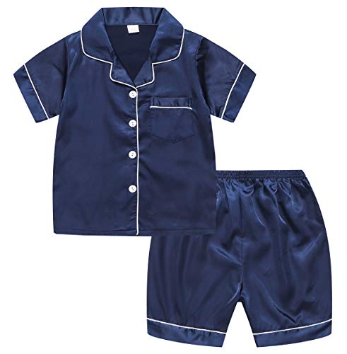 Kids Satin Pajamas Set, PJS Short Sleeve Button-Down Top + Shorts Sleepwear Loungewear 2 Pieces Pajamas Set for Little & Big Boys Girls, Blue, 4-5 Years = Tag 12 ()