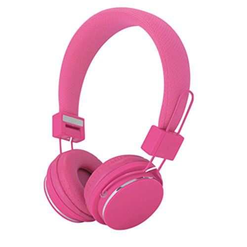 YouthCamp Color Headphone Adjustable headband for comfort and secure fit 3.5mm plug stereo sound. Headset with In line Mic and Volume Control Gaming Music Equipment Earphone Pink