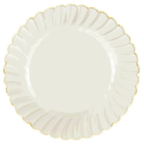 Reusable White With Gold Swirl Border Round Plates Premium Party Tableware, Plastic, 7