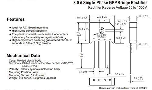 ASEMI KBU808(Pack of 10pcs) Through Hole Bridge Rectifier Diode KBU-4 Package 8A800V for Power Adapter…