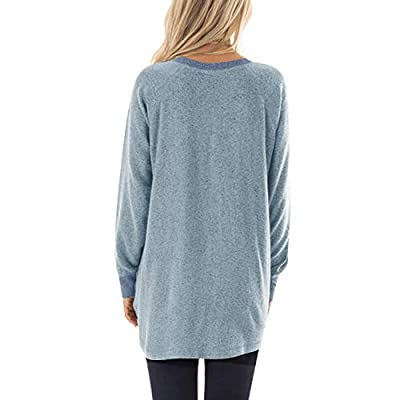 GADEWAKE Womens Casual Color Block Long Sleeve Round Neck Pocket T Shirts Blouses Sweatshirts Tops at Women's Clothing store