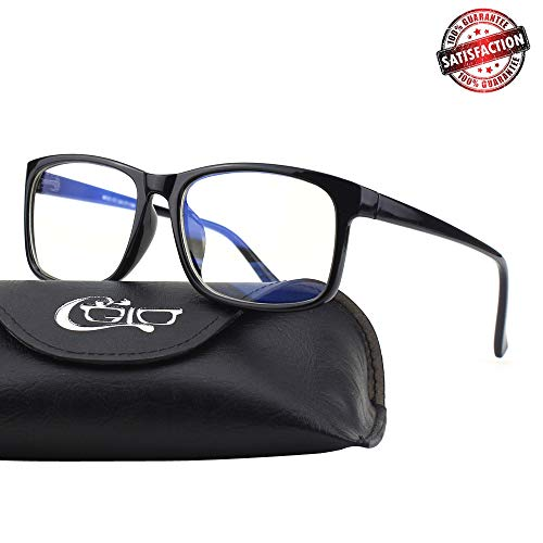CGID CT12 Blue Light Blocking Glasses for Men and Women, Anti Eye Fatigue Eyestrain, Reduce Digital Headaches, Safety Glasses for Computer Phone Tablet,Black,Third Generation Blue Light UV Filter ()