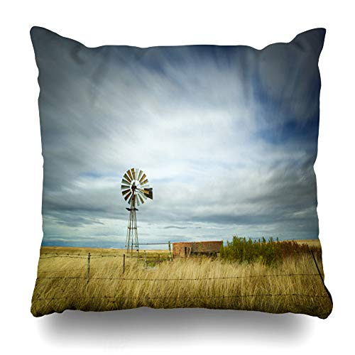 Ahawoso Throw Pillow Cover Light Blue Farm Windmill Field Motion Clouds in Energy Africa Parks Green South American Prairie Town Decorative Pillowcase Square 20x20 Home Decor Zippered Cushion Case