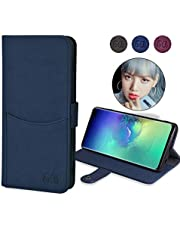 """Galaxy S10 Wallet Case,Eucabulus Case Compatible for Samsung Galaxy S10,Leather Flip Slim Wallet case [Stand Feature] with ID&Credit Cards Pockets Snap Button Closure (NOT for Galaxy S10E 5.8"""" or S10 Plus 6.4"""") (Blue)"""