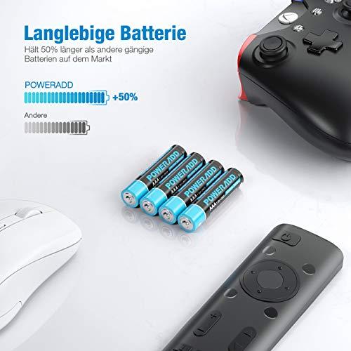 POWERADD AAA Alkaline Akku 24 per Stücke 1.5 V AAA Alkaline Batterien als leistungsstarke Einwegbatterien, geeignet für die Stromversorgung von Geräten des täglichen Bedarfs.