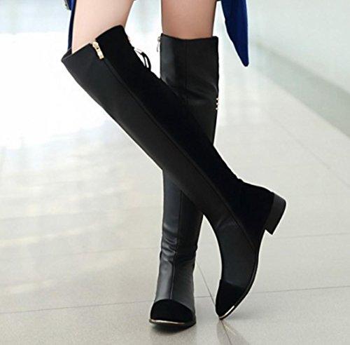 YCMDM Cavaliere Stivali Side Zipper Alta-Qualit stivali del ginocchio delle donne del nuovo di modo temperamento Primavera Autunno Inverno Nero Rosso 34 35 36 37 38 39 , black , 36