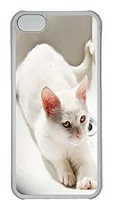 Customized iphone 5C PC Transparent Case - White Cat Cover