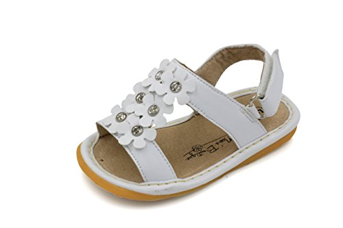 White Flowers Girl Squeaky Sandals Shoes (White Flower Sandals)