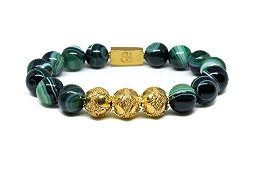 Men's Green Striped Agate and Gold Vermeil Beads Bracelet, Men's Luxury 12mm Beads Bracelet, Gold Vermeil Bracelet by Kartini Studio