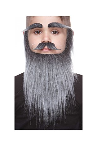 Mustaches Fake Beard and Eyebrows, Self Adhesive, Novelty, Small Medieval King False Facial Hair, Costume Accessory for Kids, Salt and Pepper Color -
