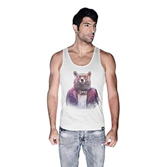 Creo Bear Pug Life Scoop Neck Tank Top For Men - Xl, White