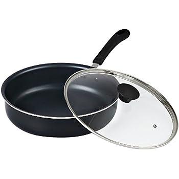 "Cook N Home 02435 Non-Stick Deep Sauté Fry Pan/Jumbo Cooker Cookware with Lid, 11"", Black"