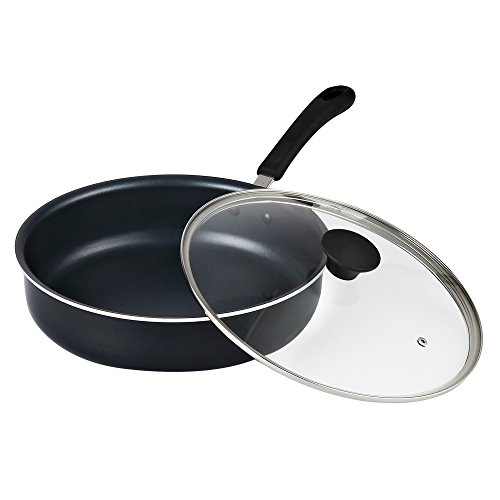 Cook N Home 11-Inch/4 Quart Nonstick Deep Saute Fry Pan/Jumbo Cooker with Lid, Black