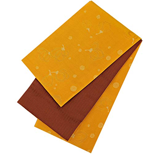 百年給料誓約半幅帯 レディース 桐生織 花柄 橙色 赤茶色 リバーシブル N3116