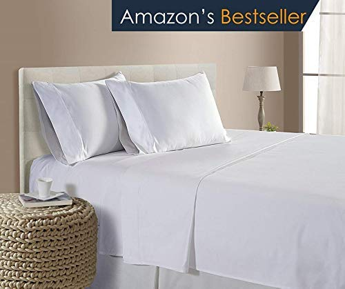 (Hotel Luxury 1500 Thread Count 4-Piece Bed Sheet Set Authentic Heavy Egyptian Cotton Fits Mattress 15