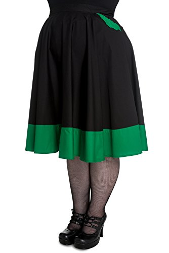 Hell Bunny Plus Vampiress Black Green Bat Goth Punk Rockabilly Skirt (XXL)
