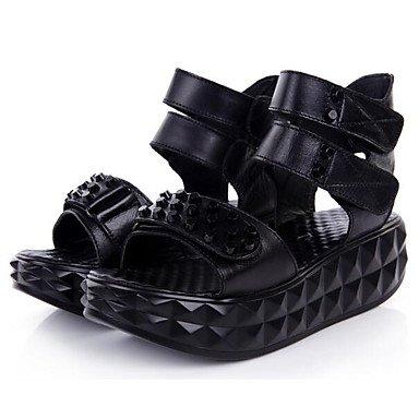 LvYuan Mujer Sandalias Confort Cuero de Napa Cuero Primavera Casual Confort Negro Plano Black