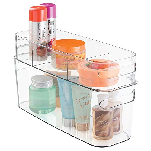 Vanity Tote - mDesign Cosmetic Organizer Totes for Vanity Cabinet to Hold Makeup, Beauty Products - Set of 2, Clear