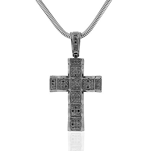 925 Sterling Silver Black Rhodium CZ Large Hip-Hop Statement Cross Pendant Necklace, 30'' by My Daily Styles