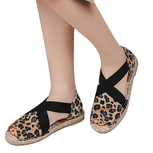 WEISUN Lace Up Sandals Women Flat Sandals Leopard Print Ankle Strap Buckle Casual Comfy Sandals Brown
