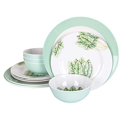 ZBGOROW Melamine Dinnerware Set | 12-piece Camping Dinner Dishes Set | BPA Free, Light-weight, Break and Chip Resistant | Service for 4