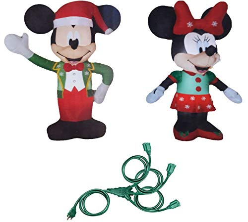 Inflatable Mickey & Minnie Christmas Yard Decorations, 5 Feet Tall - Lit up with Energy Efficient LED - Includes 25' Outdoor 3-Outlet Multi Directional Extension Cord (Powersports Outdoor)
