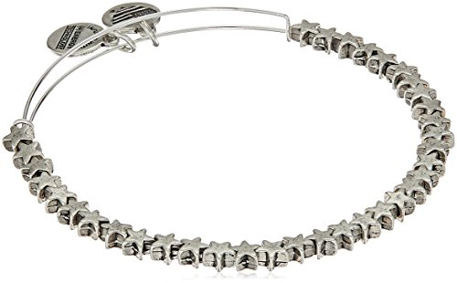 Alex and Ani Star Beaded Rafaelian Silver Bangle Bracelet (Moon And Star Charm Bracelet)