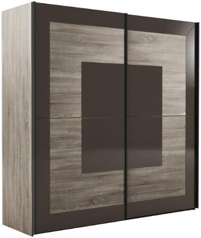 Armario Puerta corredera 215334 sonoma de roble oscuro/cristal negro y marrón 200 cm: Amazon.es: Hogar