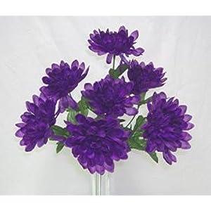 5 Mums Purple Wedding Bridal Bouquet Silk Flower Floral Arrangements Flowers Centerpiece Artificial Flowers 32