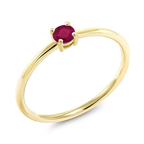 Gem Stone King 10K Yellow Gold Red Ruby Women's Solitaire Engagement Ring 0.22 cttw Round Cut Available in size 5, 6, 7, 8, 9