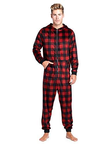 Ashford & Brooks Men's Mink Fleece Hooded One-Piece Union Suit Pajamas - Red Buffalo Check - 2X-Large