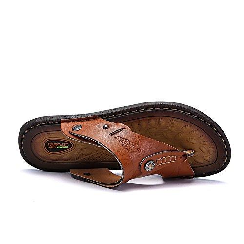 Scarpe uomo di doppia grandi Sandali 2018 pantofola da in pattino da vacchetta Casual da Marrone sandali a spiaggia pelle uomo dimensioni di funzione SwCCdq