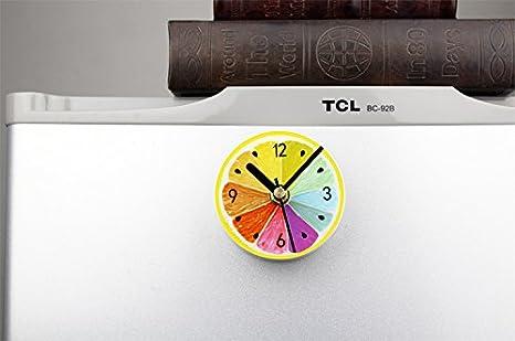 FYOUYOU Jardín fruta nevera Limón Limón creativo de moda reloj adhesivo nevera mensaje reloj reloj pegajoso de succión magnética Pegar tabla, ...