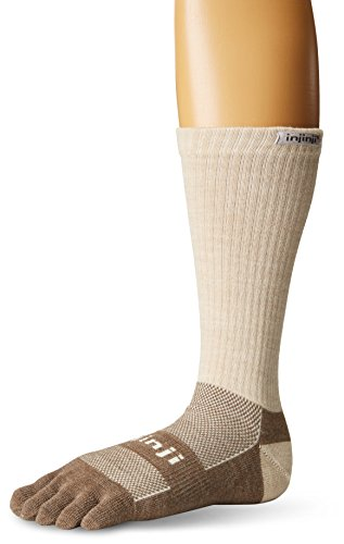 Injinji 2.0 Outdoor Original Weight Crew Nuwwol Socks, Oatmeal, Medium ()