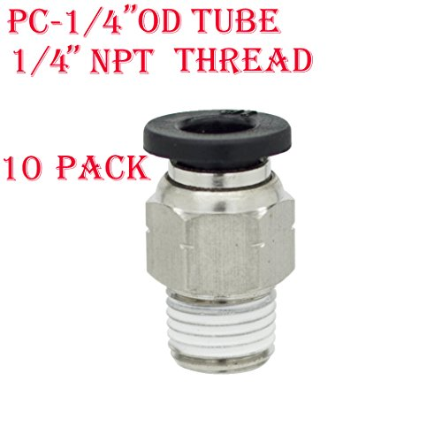 Utah Pneumatic 10 Pack Nylon & Nickel-Plated Brass Push To Connect Fittings Pc Male Straight 1/4