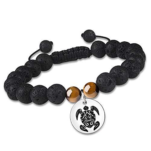 Turtle Adjustable Essential Oil Diffuser Bracelet for Women Girls Lava Rock Stone Bead Spiritual Natural Genuine Gemstone Semi-Precious Yoga Bangles Lucky Health Jewelry Aromatherapy Meditation ()