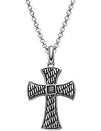 1/8 Carat T.W. Black Diamond Sterling Silver Textured Cross Pendant Necklace - Men
