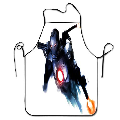 LongWEApron Custom Adjustable Iron Man Fan Art Aprons Unisex Kitchen Novelty Bib Apron with Adjustable Neck for Cooking Gardening Grill BBQ,Adult Size