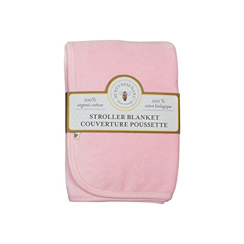 Burt's Bees Baby - Velour Stroller Blanket, 100% Organic Cotton (Blossom) (Velour Blanket Pink Baby)