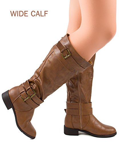 RF ROOM OF FASHION Madison-21 Wide Calf Riding Boots (Tan PU Size 8.5)