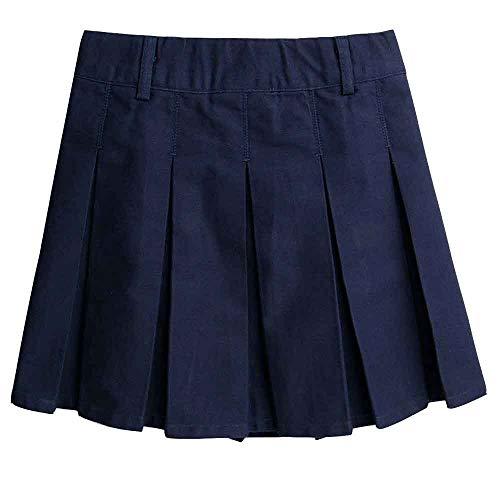 Girls Cotton Adjustable Waist School Uniform Pleat Skirt Navy Blue Tag 130 (7-8 Years) by Gooket (Image #1)