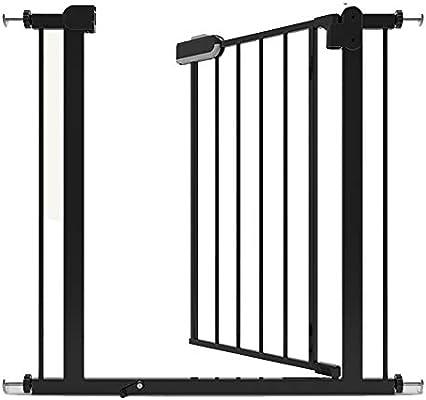 Barrera seguridad Puerta para bebés negra con puerta, protector de pared para mascotas Puerta para escaleras Escaleras interiores, puerta de cierre automático, 76-173 de ancho Barandilla resistente a: Amazon.es: Hogar