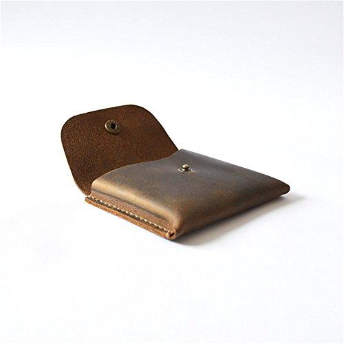 Leather Business Name Card Holder Case Front Pocket Card Wallet Organizer Vintage Brown GJB08