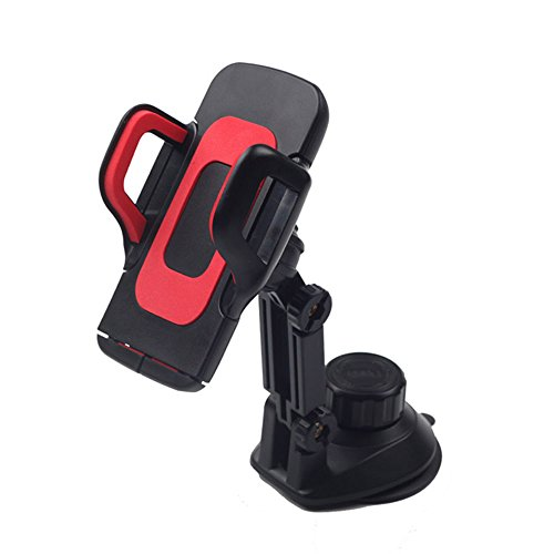Universal Adjustable Car Bracket - CamilleKvf Vehicle Mount For Navigation, GPS and Smartphones - Cell Phone Holder With Suction Cup Design Of Base, Red