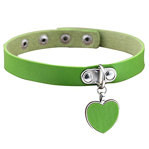 Collar Green Pendant - Wintefei Punk Gothic Women Love Heart Pendant Faux Leather Choker Collar Necklace Bracelet - Green