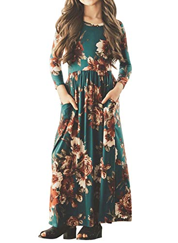 MITILLY Girls Flower 3/4 Sleeve Pleated Casual Swing Long Maxi Dress with Pockets 8 Years Teal -