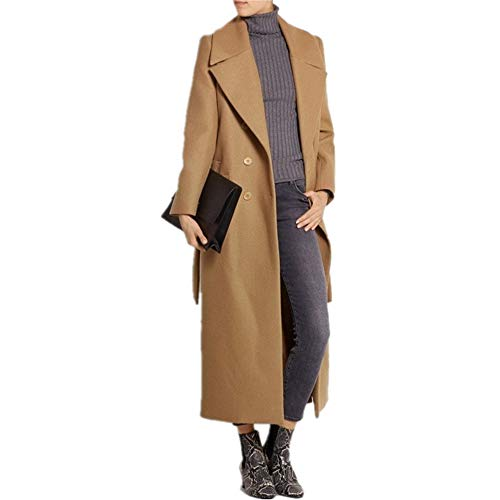 (CHANGLIU LIN Women's Camel Lapel Double Breasted Full-Length Slim Trench Wool Coat with Belt (m))