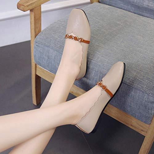Femme Chaussures amp;H Talon Couleur Printemps Bas S Chaussures Hiver Pure Beige De Plat NEEDRA Talon Slip Plat Simples on Automne Peu qHgdxdEw7